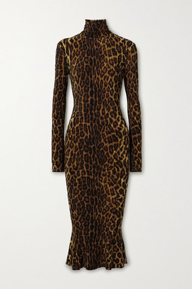 Norma Kamali Leopard-print Stretch-jersey Turtleneck Midi Dress - Leopard print