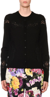 Dolce & Gabbana Crewneck Button-Front Lace-Inset Cardigan