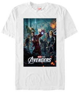 Marvel Men's Avengers Action Group Shot Poster Short Sleeve T-Shirt