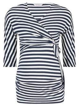 Dorothy Perkins Womens **Maternity Black And White Stripe Print Wrap Nursing Top, White