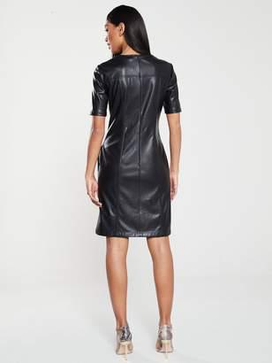 BOSS Casual Faux Leather Shirt Dress - Black