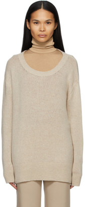 The Row Taupe Cashmere Braulia Sweater