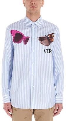 Versace Sunglasses Printed Pinstripe Shirt