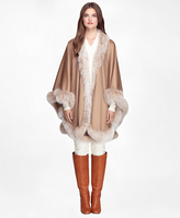 Brooks Brothers Camel Hair Ruana with Fox Fur Trim