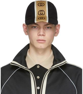 Gucci Black Logo Stripe Cap