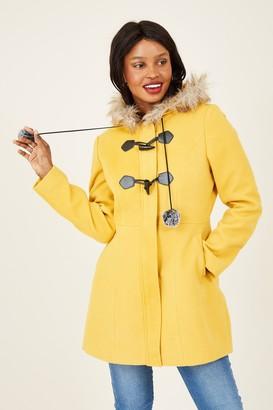 Yumi Mustard Duffle Coat With Pom-Poms