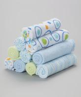 SpaSilk Blue & Green Circle Washcloth Set