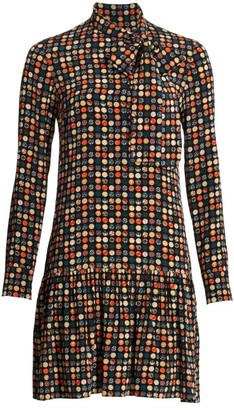 Akris Punto Wood Dot Flounce Hem Silk Dress