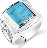 Ice Men's Simulated Turquoise Sterling Silver Centurion Fashion Ring