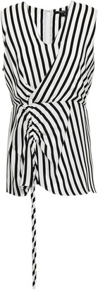 Derek Lam Ruched Striped Silk Crepe De Chine Top