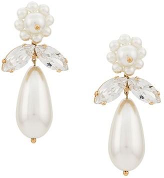 Simone Rocha crystal and pearl drop earrings