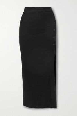 Alix Fordham Ribbed Stretch-modal Jersey Midi Skirt - Black