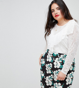 Junarose Lace Ruffle Panel Top