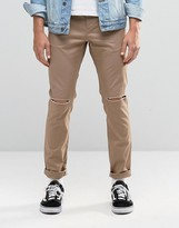 Asos Skinny Cotton Pants In Stone With Knee Rip