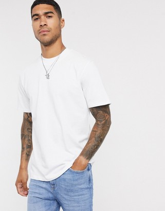 Selected high neck t-shirt in heavy white organic cotton
