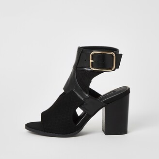 River Island Womens Black cut out heeled shoe boots