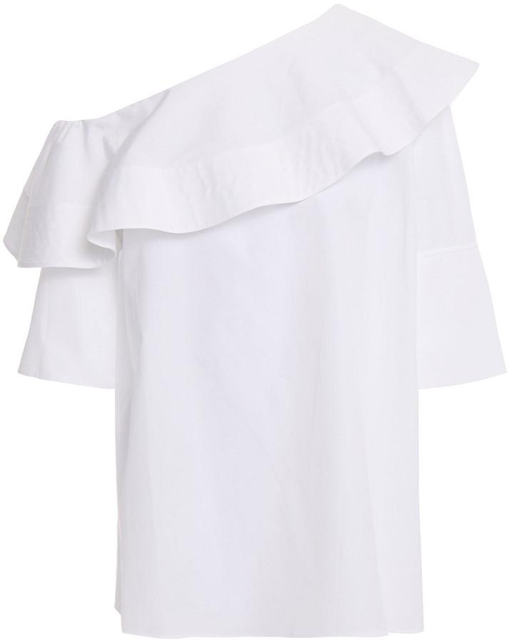 Victoria Victoria Beckham Off-the-shoulder Ruffled Cotton-poplin Top