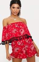 PrettyLittleThing Red Bardot Floral Tassel Trim Playsuit