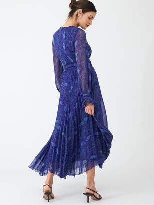 Very Pleated Skirt Midi Dress - Blue Snake Print