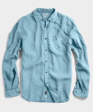 Todd Snyder Spread Collar Linen Shirt in Light Blue