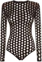 Balmain Bodysuit with Cutouts, Black, FR 36