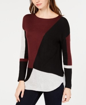 INC International Concepts Inc Colorblocked Shirttail Sweater, Regular & Petite Sizes, Created for Macy's