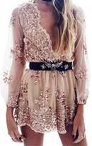 Simplee Apparel Women's Long Sleeve Sequin Floral V Neck Romper Jumpsuit