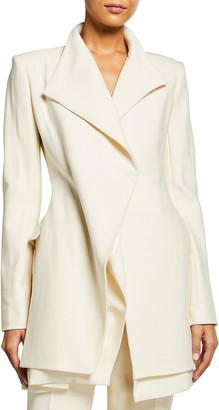 Brandon Maxwell Layered Wool-Blend Blazer Dress
