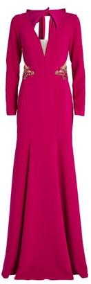 Marchesa Cut-Out Plunge-Neck Gown