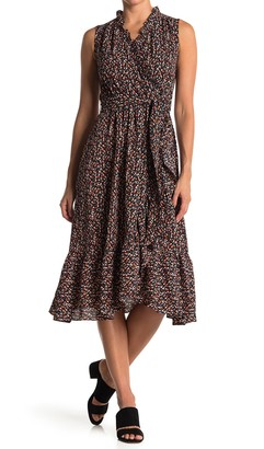 London Times Ruffle Trim Wrap Dress