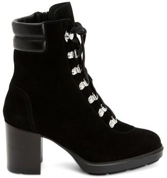 Aquatalia Iriana Block-Heel Suede Hiking Boots