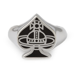 Vivienne Westwood Sterling Silver Vegas Ring Black size XL