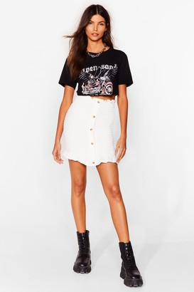 Nasty Gal Womens We're Button to You Shirred Mini Skirt - White - 10