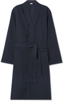 Zimmerli - Satin-trimmed Cotton-twill Robe