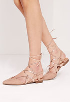 Missguided Strappy Metallic Slingback lace up ballerina flats nude