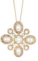 Natasha Accessories Antique Gold-Tone Synthetic Pearl Pendant Necklace