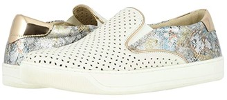 Johnston & Murphy Elaine Perfed (White Italian Nappa/Pewter Mosaic Leather) Women's Slip on Shoes