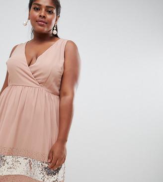 Asos Lovedrobe Luxe Plus Lovedrobe Lux wrap skater dress with embellished hem-Purple