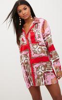 PrettyLittleThing Pink Scarf Print Shirt Dress
