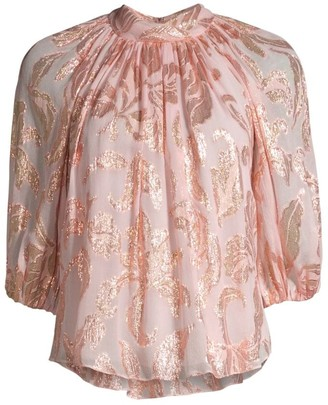 Rebecca Taylor Datura Floral Three-Quarter-Sleeve Blouse