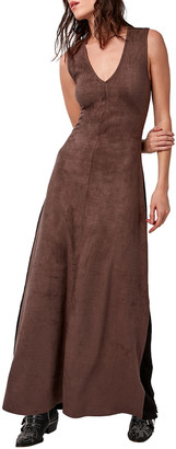Astars Fifteen Vegan Suede Maxi Dress