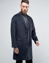 Original Penguin Penguin Formal Navy Textured Check Overcoat