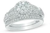 Zales 1-1/2 CT. T.W. Diamond Frame Vintage-Style Flower Bridal Set in 14K White Gold