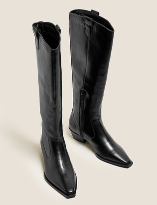 Marks and Spencer Leather Western Chisel Toe Knee High Boots