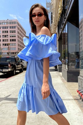 Nasty Gal Womens To the Extreme Ruffle Off-the-Shoulder Dress - Blue - L, Blue