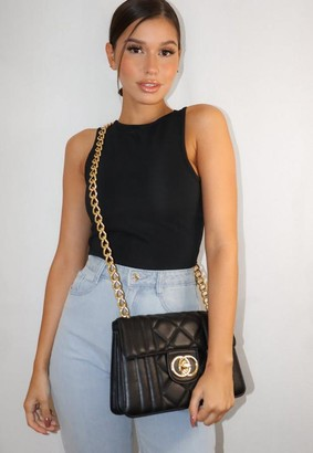 Missguided Black Quilted Double Ring Handbag
