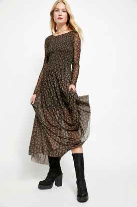Free People Hello And Goodbye Mesh Midi Dress