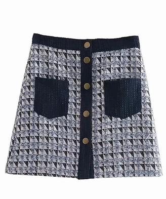 Goodnight Macaroon 'Amelia' Tweed Plaid Buttoned Pocket Mini Skirt