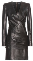 Balmain Ruched Leather Mini Dress
