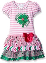 Bonnie Jean Toddler Girls Shamrock Appliqued Tiered Dress